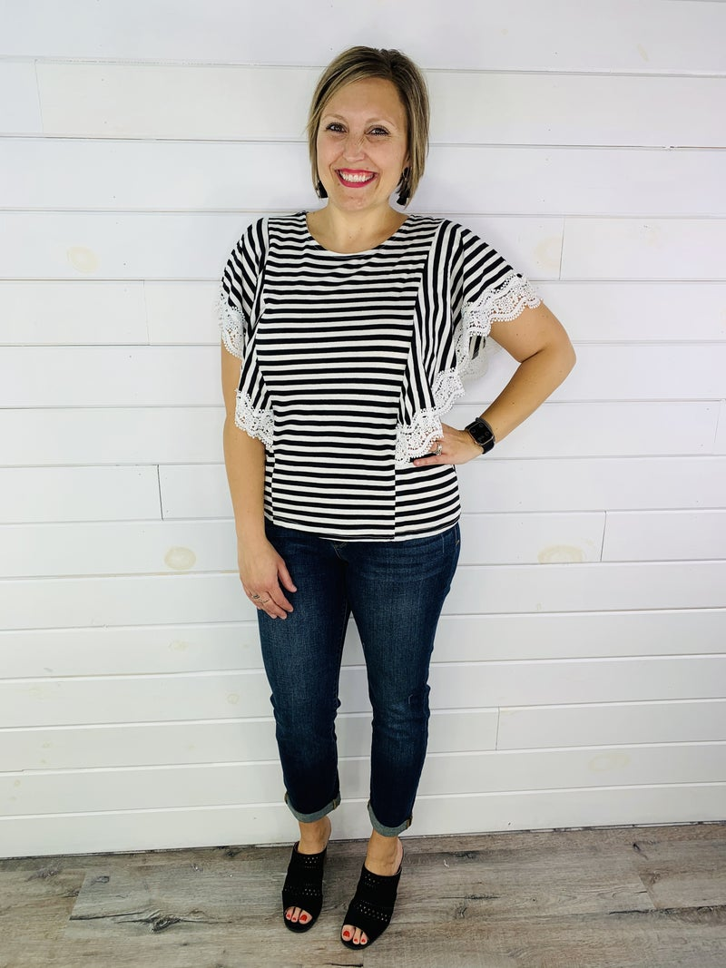 Black and White Striped Flutter Sleeve Top with Lace Trim