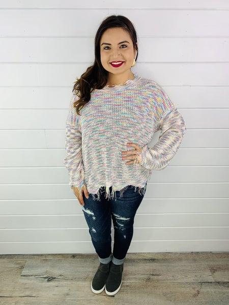 POL Rainbow Stripe Pullover Sweater