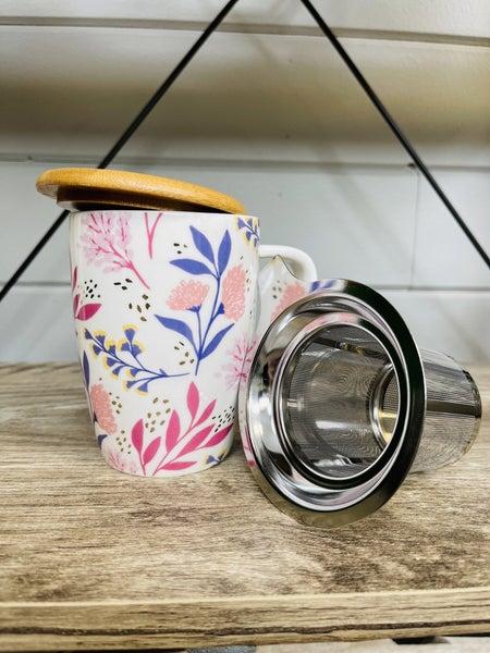Bailey Botanical Bliss Ceramic Tea Mug & Infuser by Pinky Up