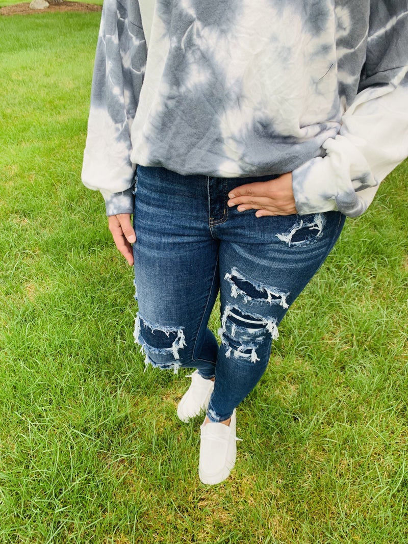 Plus/Reg Judy Blue Fall Into Patches Skinny Jeans