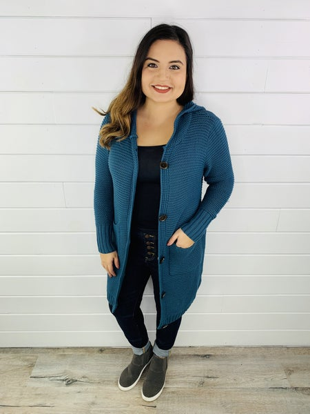 Easel Knit Button Up Hooded Long Cardigan