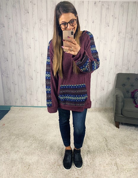 Plus Plum Crewneck Sweater with Aztec Print Sleeves and Pocket
