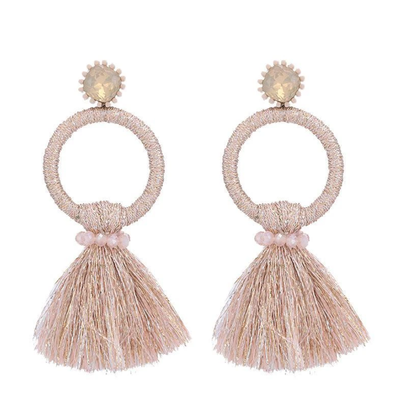Ivory Tassel Circle Earrings