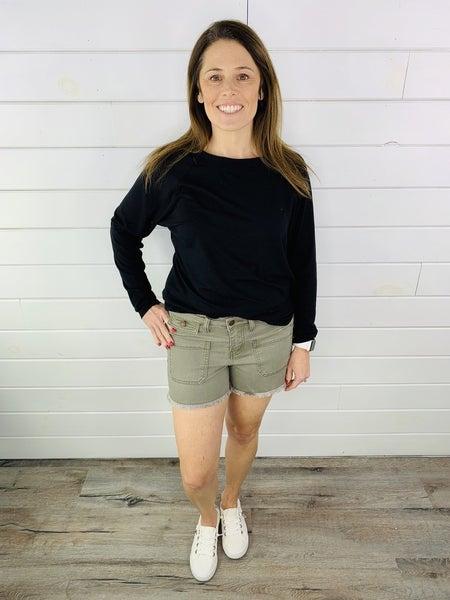 PLUS/REG Judy Blue Olive You Shorts with Raw Hem