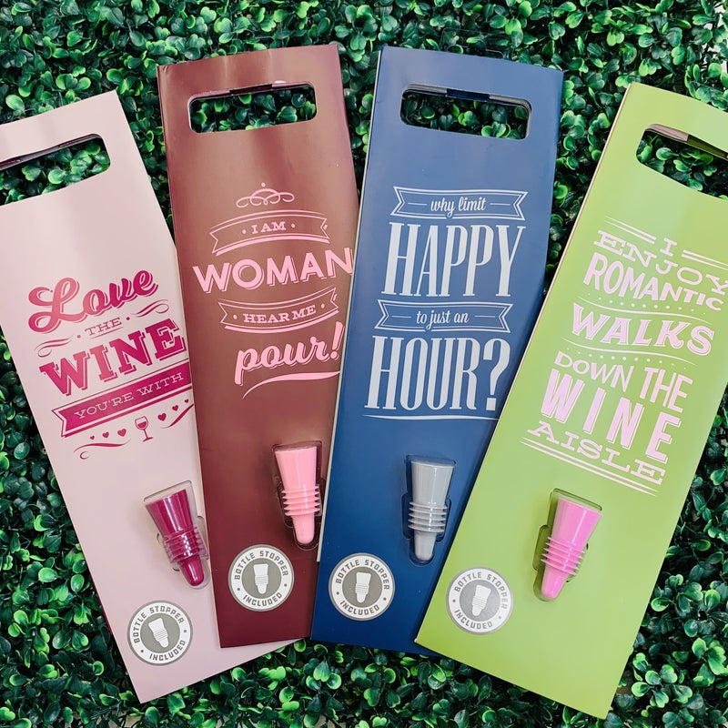 Wine Gift Bag With Stopper - 4 Designs!