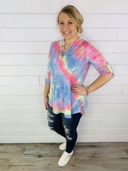 PLUS/REG HoneyMe Spring Tie Dye Gabby Top