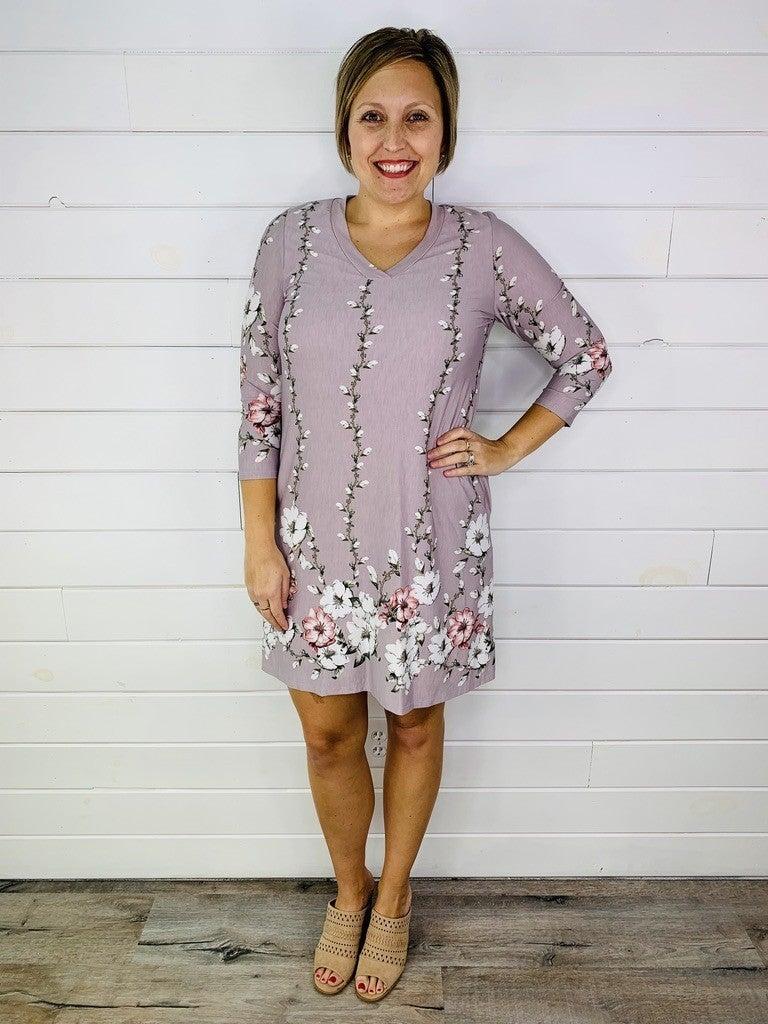 PLUS/REG Honeyme Floral Border Print Dress-- TWO Colors!