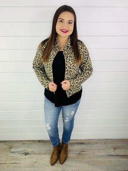 PLUS/REG Judy Blue Leopard Print Denim Jacket