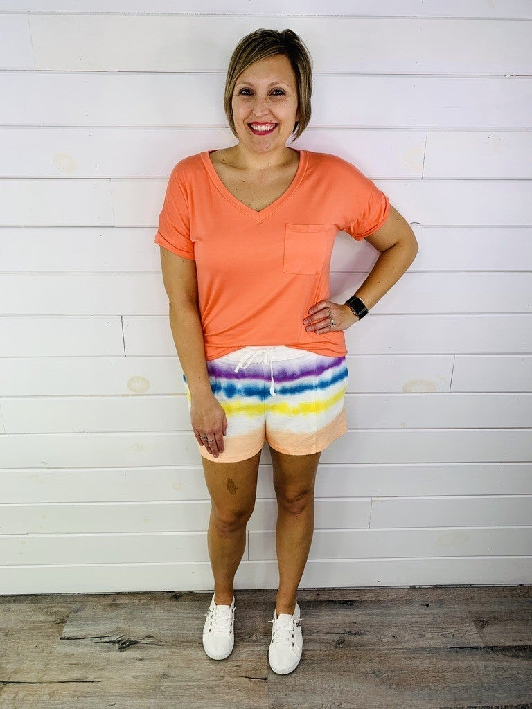 Easel Tie Dye Terry Knit Shorts
