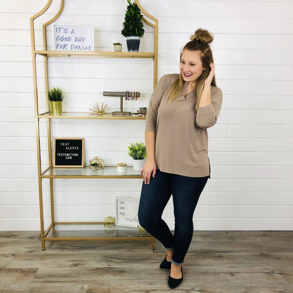 PLUS/REG Coffee And Chill Boxy Gabby Top