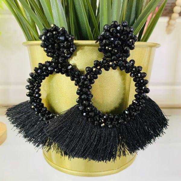 Black Tassel And Glass Bead Earrings