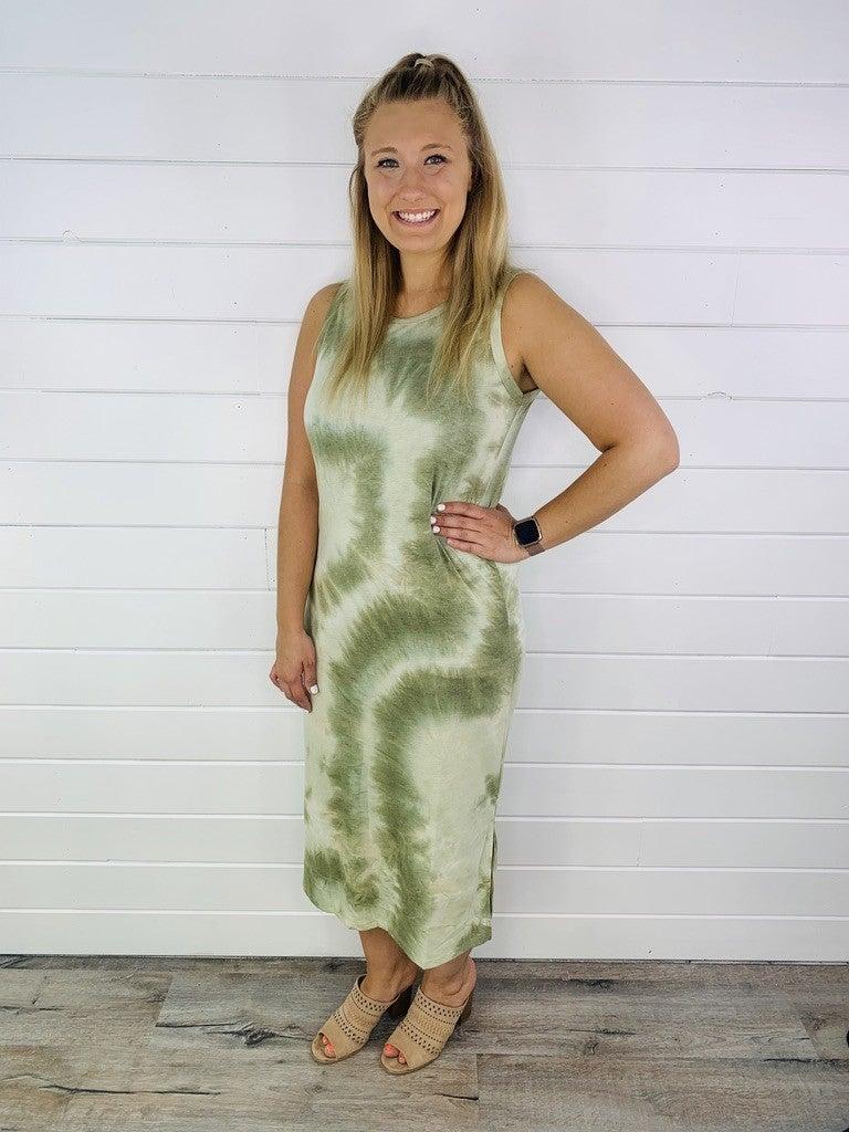 Midi Tie Dye Sleeveless Dress - 2 Colors!