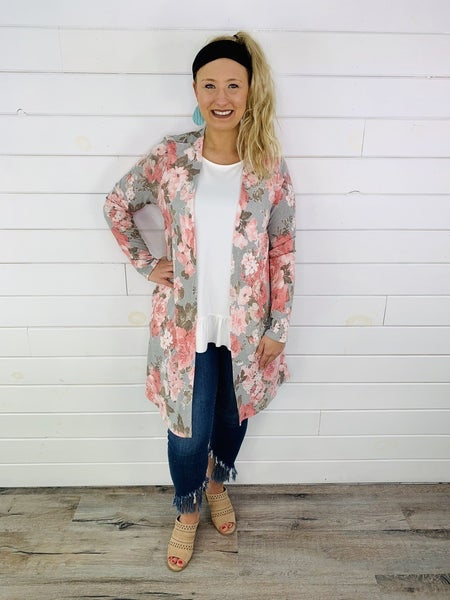 PLUS/REG HoneyMe Oversized Brushed Floral Cardigan