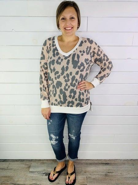 PLUS/REG Honeyme Animal Print Waffle Knit Weekender 2.0