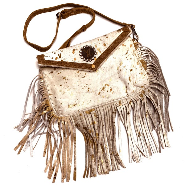 Authentic Upcycled LV Ivory And Gold Crossbody With Fringe