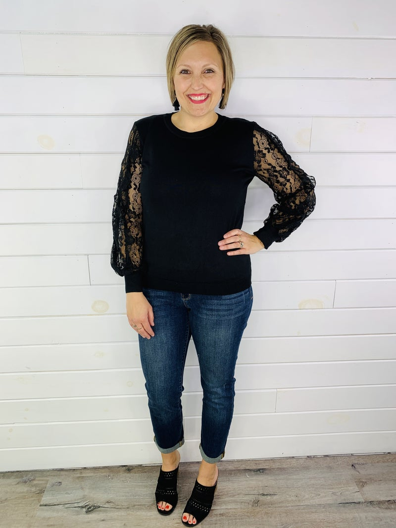 Lace Sleeve Lightweight Sweater - 2 Colors!