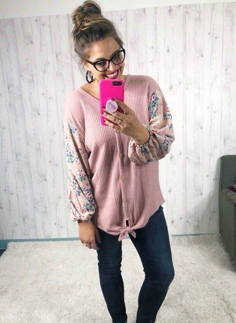 HoneyMe Plus/Reg Dusty Rose Waffle Knit Button Up Top with Floral Sleeves