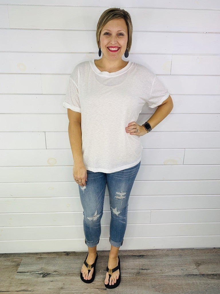 Easel Solid Short Sleeve Tee with Cutout Back- 3 Colors!