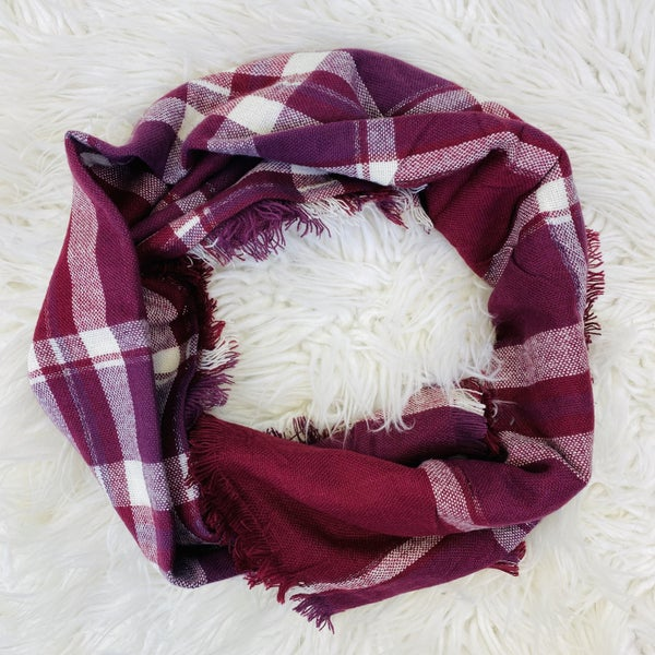 Wine Plaid Blanket Scarf With Metallic Lining