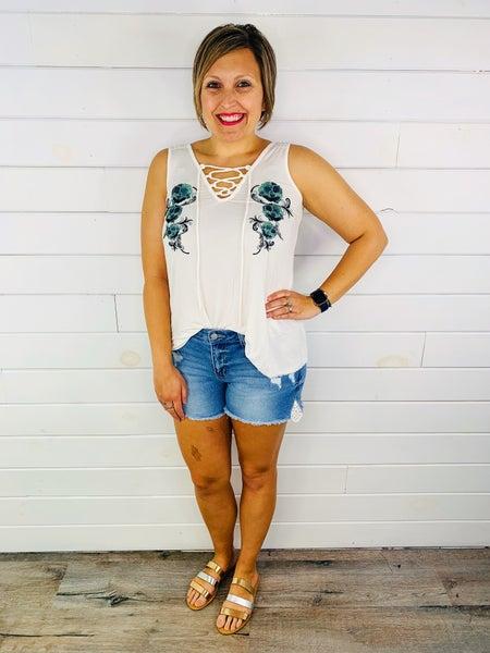 PLUS/REG Judy Blue Lovely Lace Shorts