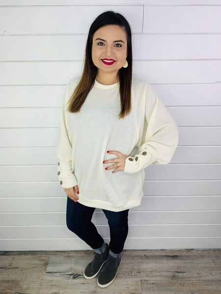 PLUS/REG Dolman Sleeve Sweater with Faux Button Cuffs