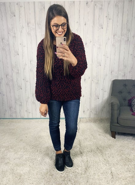 Oversized Black and Wine Soft Sweater with Balloon Sleevees