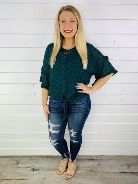 PLUS/REG Green Polka Dot Button Down Top with Tie Front and Ruffle Sleeves