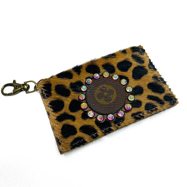 Authentic Upcycled LV Cheetah Credit Case With Iridescent Rhinestones