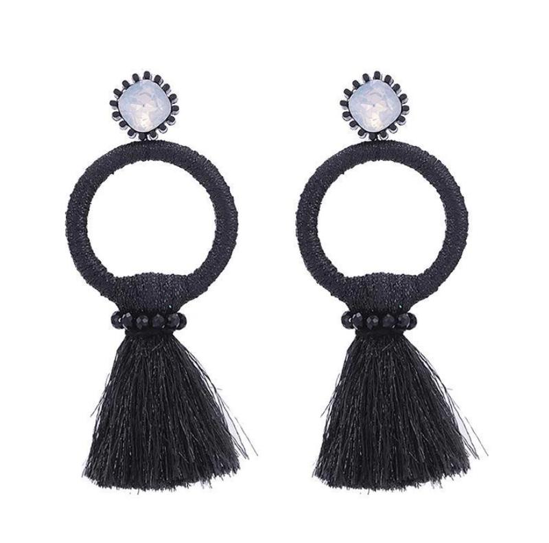 Black Tassel Circle Earrings