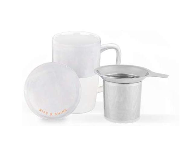 White Ceramic Tea Mug And Infuser