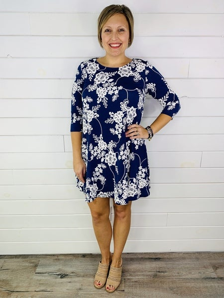 PLUS/REG HoneyMe Blue and White Embossed Floral Print Dress