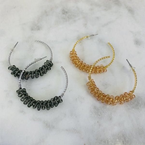 Beaded Hoop Earrings- 3 Colors!