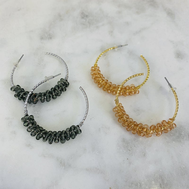 Beaded Hoop Earrings- 3 Colors!