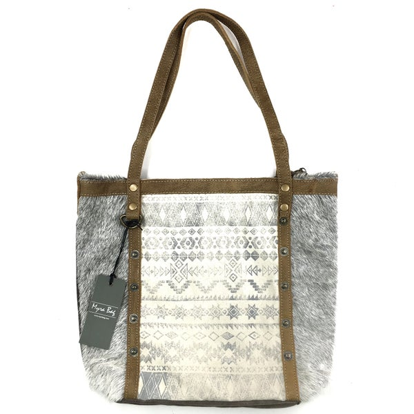 Myra Bag Emblem Side Aztec Leather Tote Bag