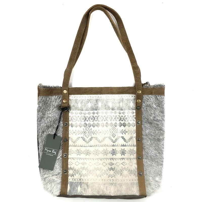 Myra Bag Emblem Side Aztec Leather Tote Bag