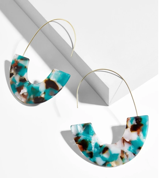 Teal & Brown Half Acrylic and Wire Earrings