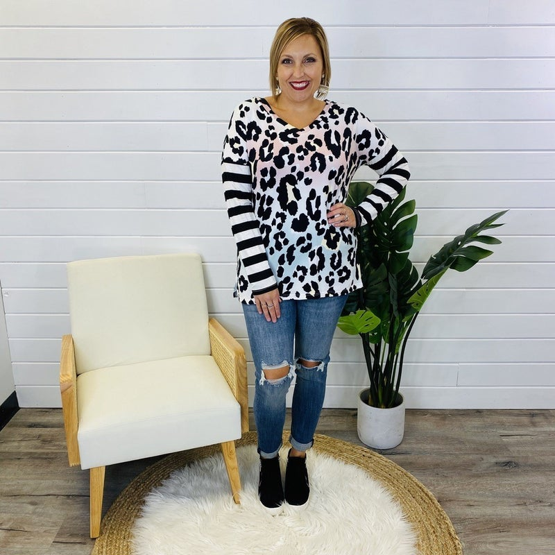 PLUS/REG Ombre Animal Print Top with Striped Long Sleeves