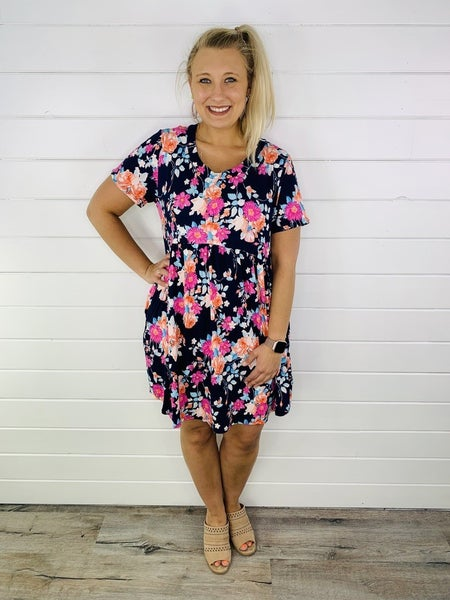 PLUS/REG Navy and Bright Floral Babydoll Dress