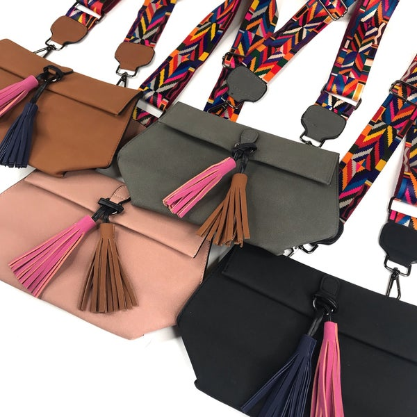 Suede Rainbow Strap Crossbody Bag