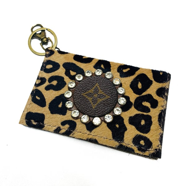Authentic Upcycled LV Cheetah Credit Card Case With Clear Rhinestones
