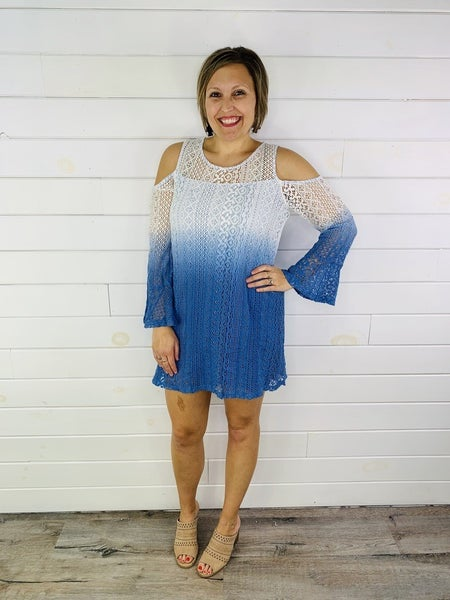 Kori America Ombre Lace Cold Shoulder Bell Sleeve Dress - 2 Colors!