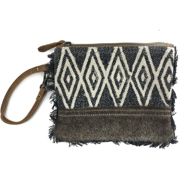 Myra Bag Fur and Diamond Printed Wristlet/Clutch with Fringe Detail