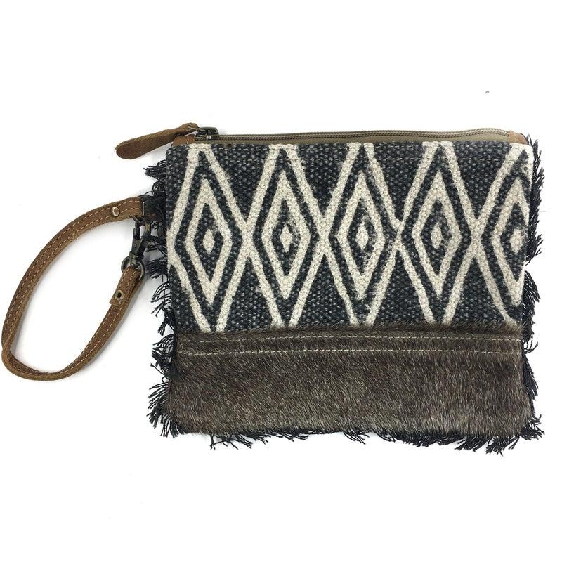 Myra Bag Fur and Diamond Printed Wristlet/Clutch with Fringe Detail