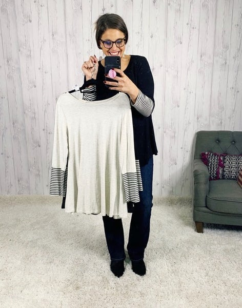 PLUS/REG Flowy Button Back Long Sleeve Top with Stripe Detail