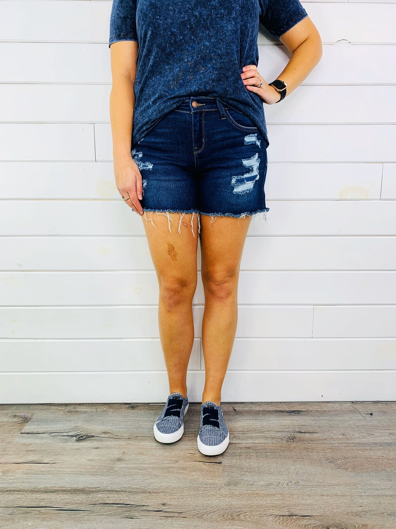 Judy Blue Summer Nights Patched Stretchy Shorts