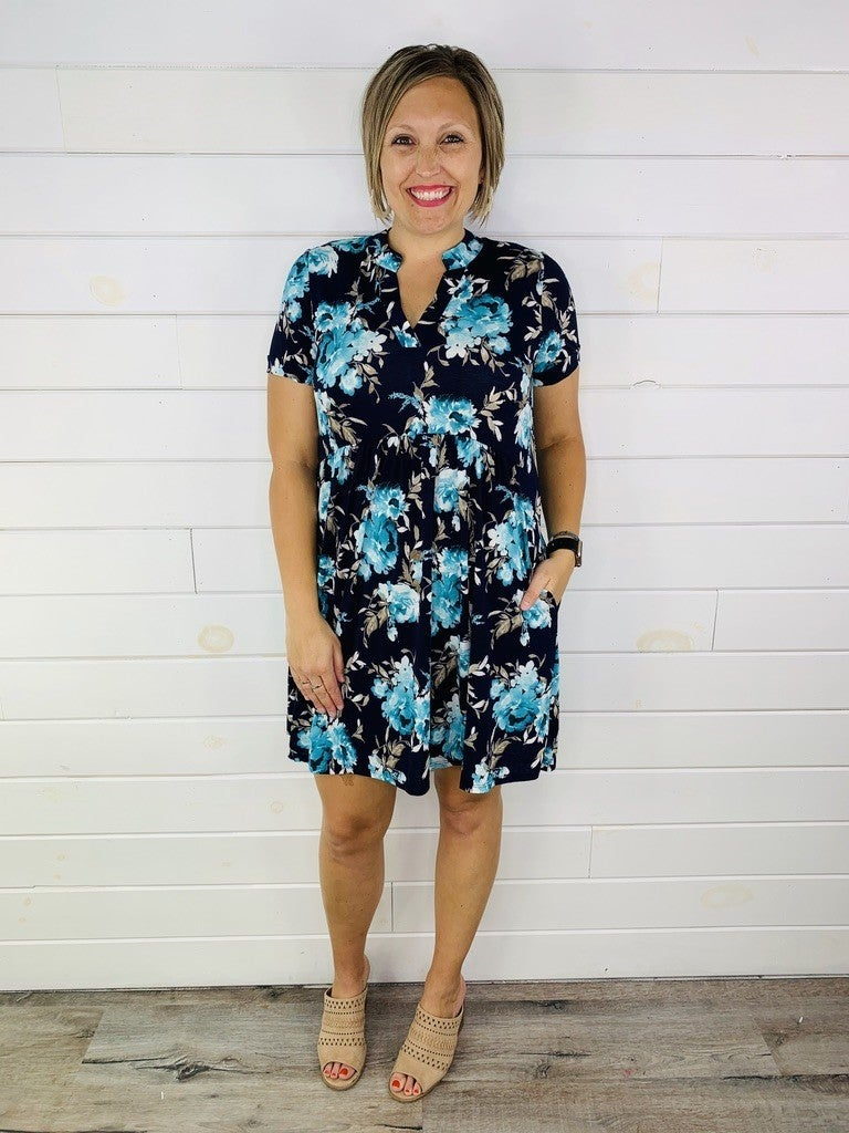 Plus/Reg HoneyMe Gabby Navy Floral Short Sleeve Dress