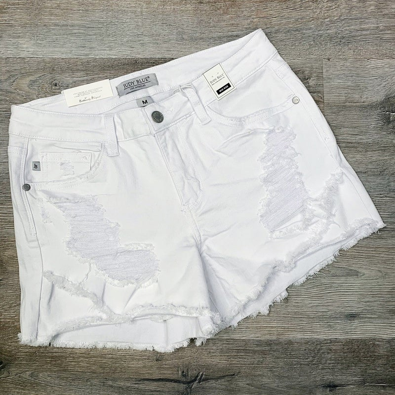 PLUS/REG Judy Blue White Distressed Tulip Hem Shorts