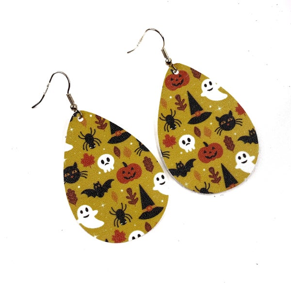 Halloween Leather Earrings