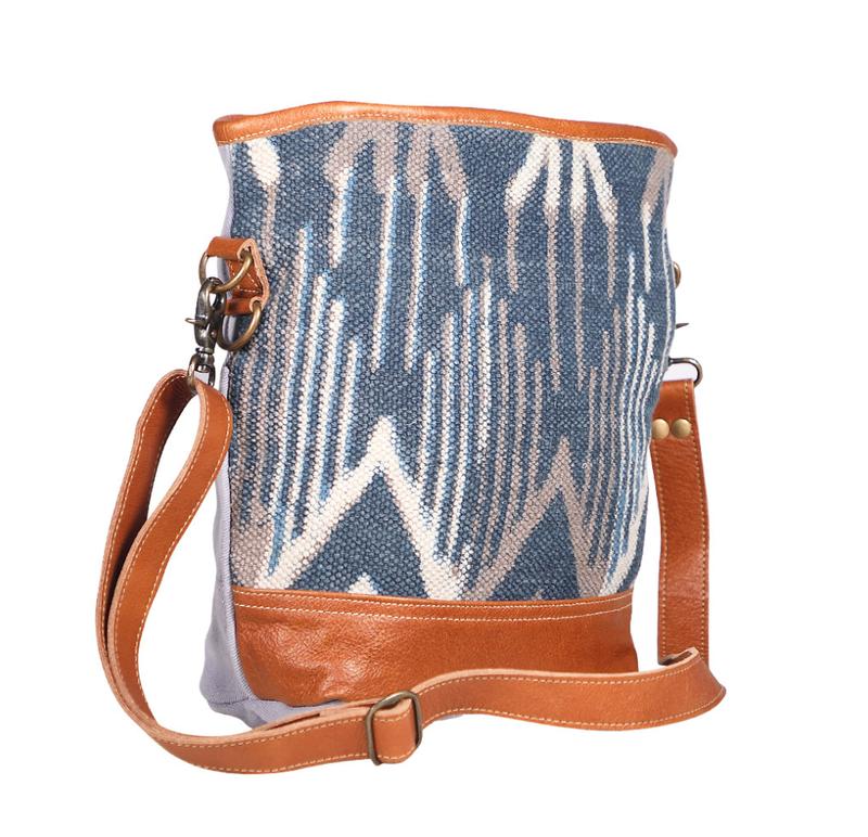 Myra Bag Blue Tribal Print Crossbody
