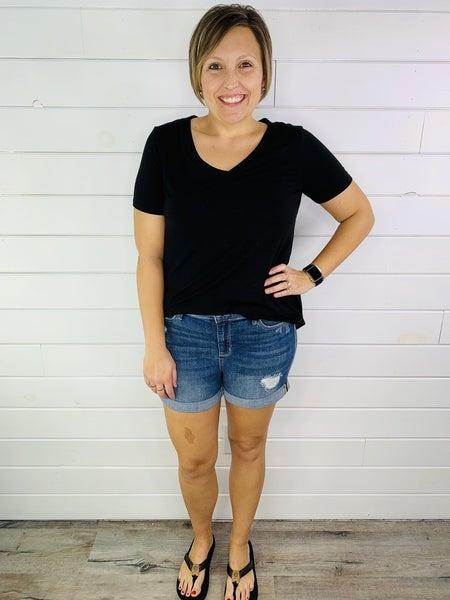 PLUS/REG Judy Blue Dreaming of Summer Cuffed Shorts